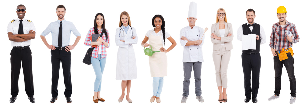 Collage of people in different occupations standing against white background